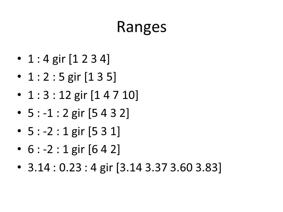 Ranges 1 : 4 gir [1 2 3 4] 1 : 2 : 5 gir [1 3 5] 1 : 3 : 12 gir [1 4 7 10] 5 : -1 : 2 gir [5 4 3 2]